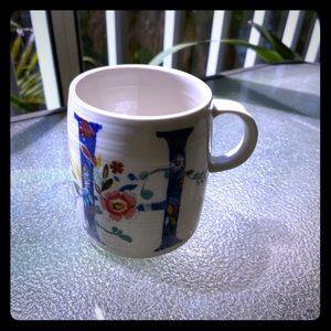 Anthropologie Floral H Initial Coffee Mug